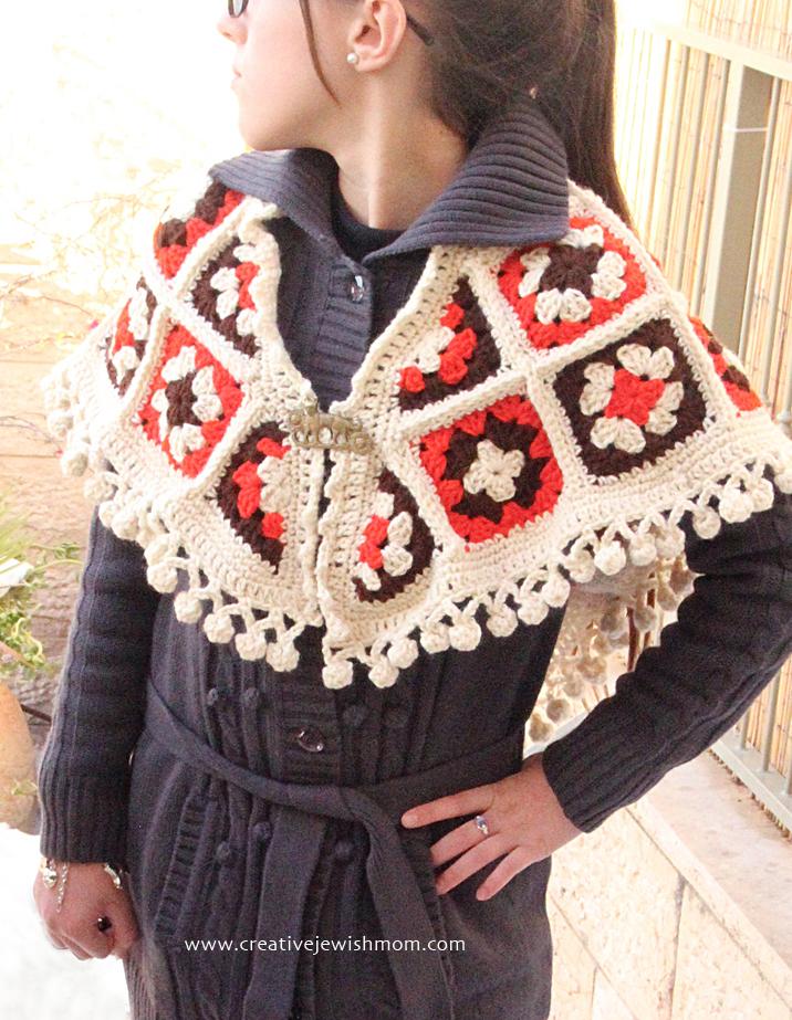 Crocheted Granny Square Shawl