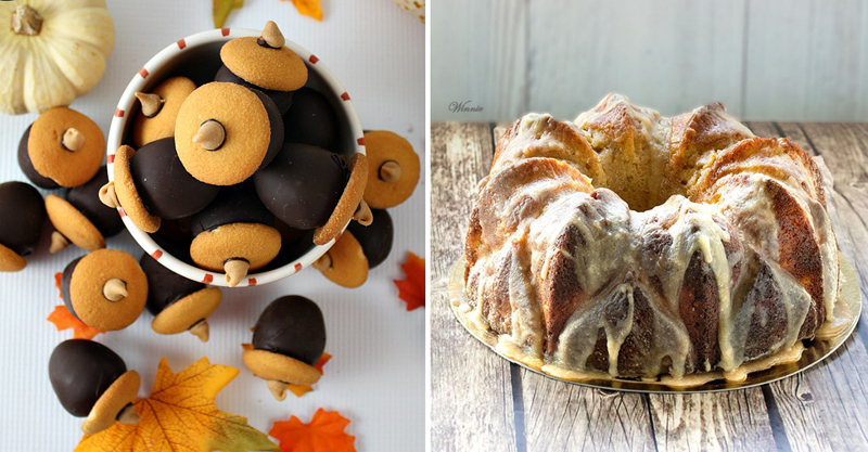 Acorn cookie balls, fall bundt cake