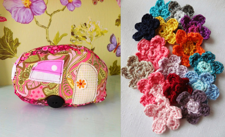 Stuffed vintage camper,crocheted flowers