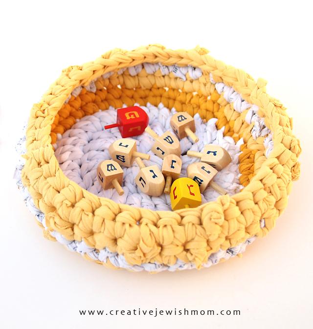 Crochet For Hanukkah recycled t shirt basket