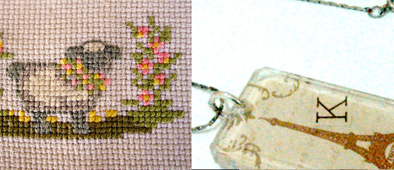 Lamb cross stitch,eiffel towel decoupage necklace