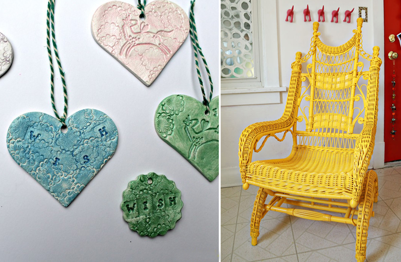 Air drying clay hearts,painted wicker chair