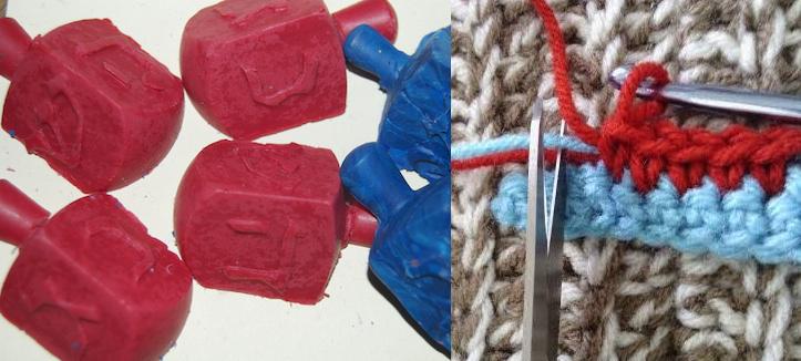 Crayon dreidels,how to change colors in crochet