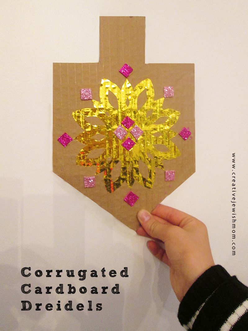 Hanukkah Dreidel Craft with corrugated cardboard