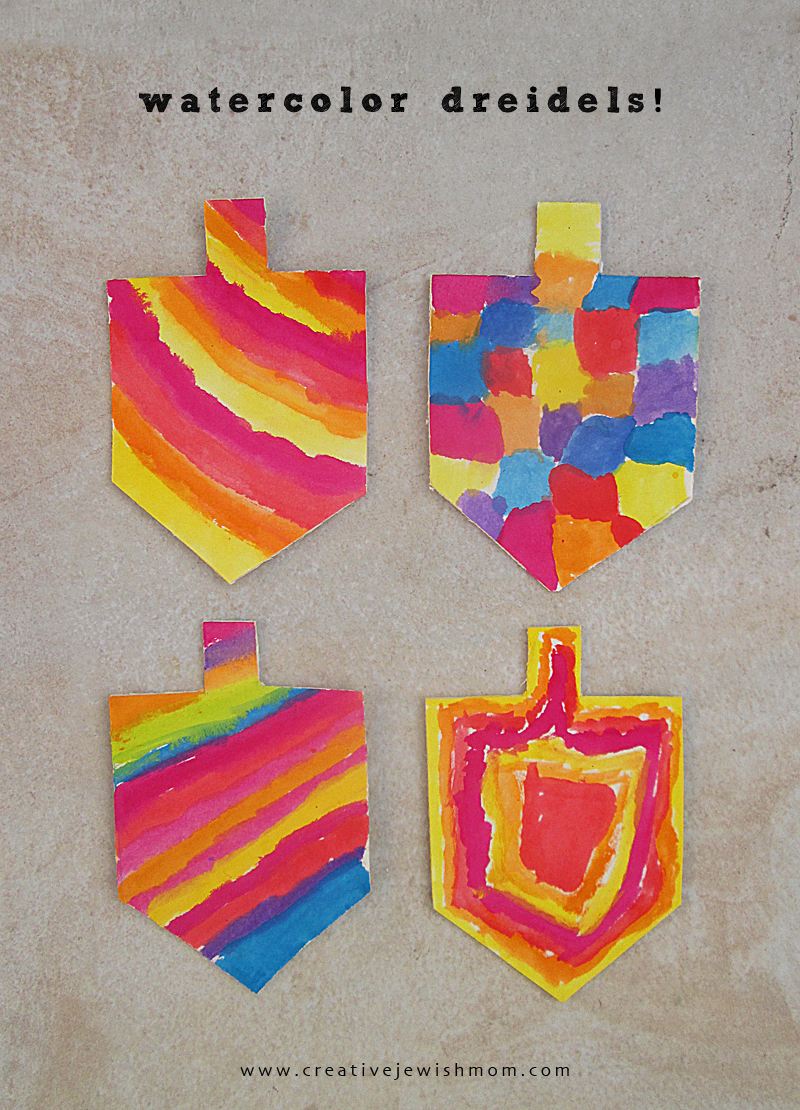 Watercolor dreidel craft hanukkah