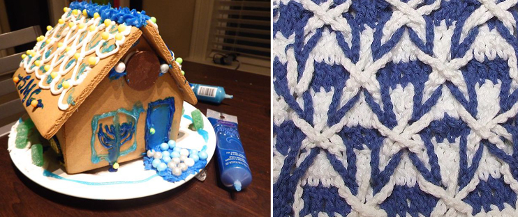 Hanukkah gingerbread house,crochet stitch