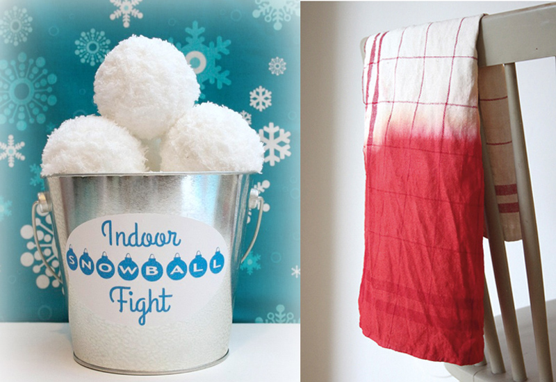 Indoor snowball fight project,dip dyed dishtowel