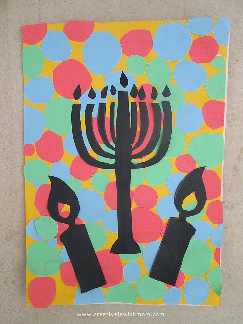 Hanukkah craft for kids cut paper silhouette