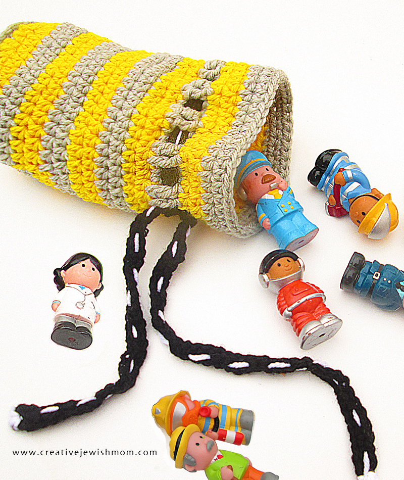 Crocheted Chunk Gift Bag Stripes Toy Pouch