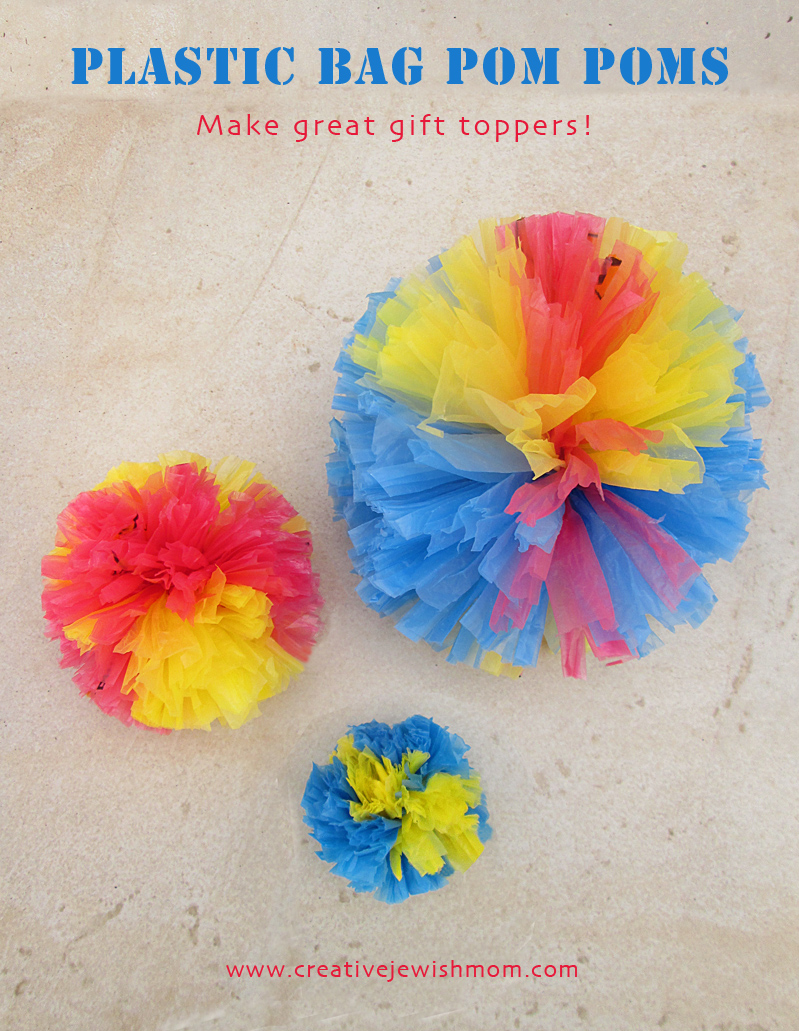 Crochet recycled plastic bags - Recycled Plastic Bag Pom Pom Gift Toppers