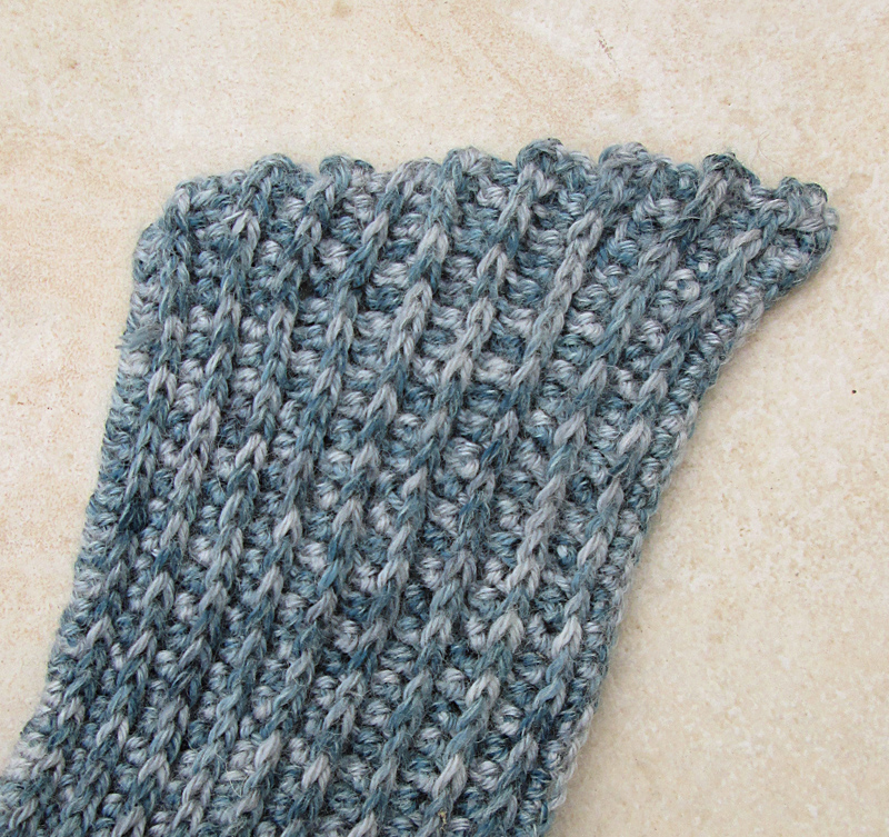 Crocheted Ribbed Scarf Diagonal End
