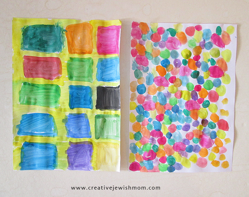 Watercolor painting patterns craft for kids