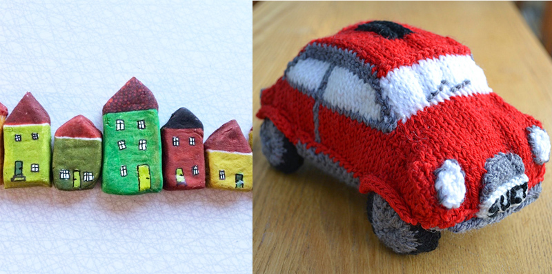 Knit mini car,little houses