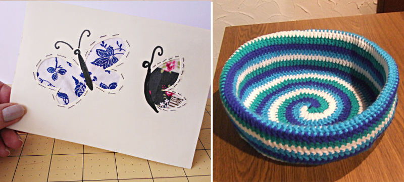 Crocheted spiral bowl,fabric cutout greeting card