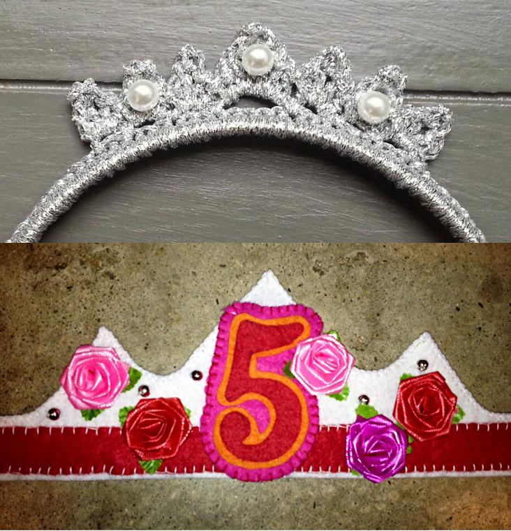 Birthday tiara felt or crocheted