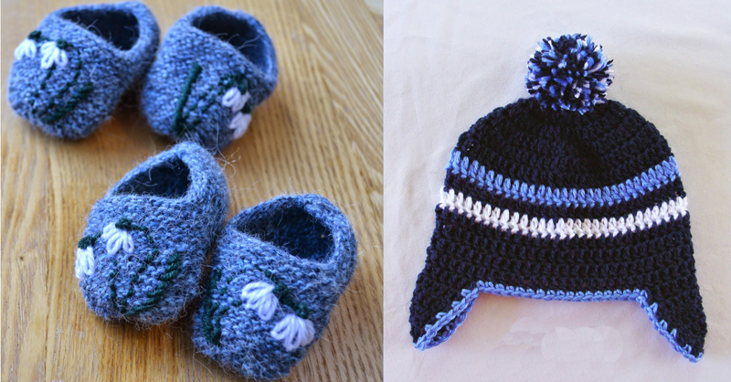 Crocheted earflap hat,knit booties with embroidery