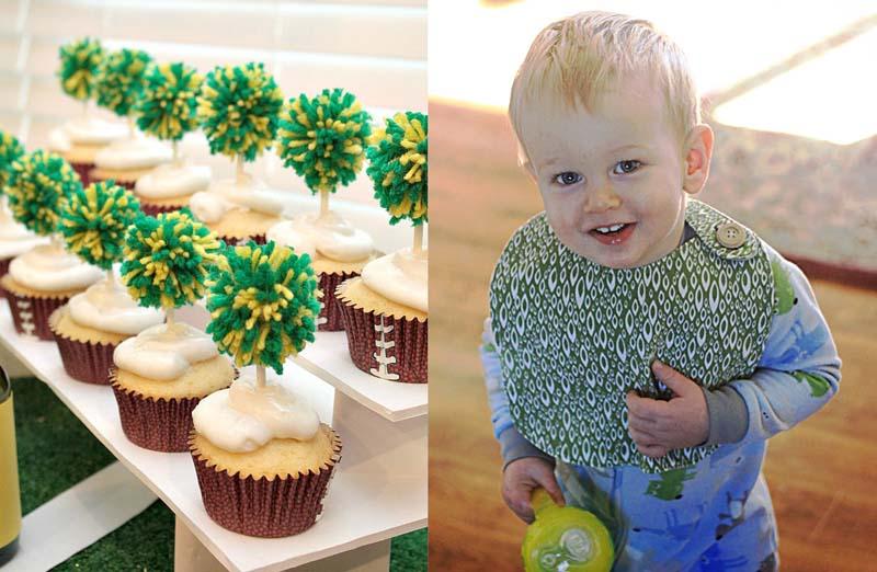 Pom pom cupcake toppers,simple bib