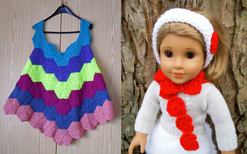 Crocheted hexigon dress,crocheted heart doll scarf