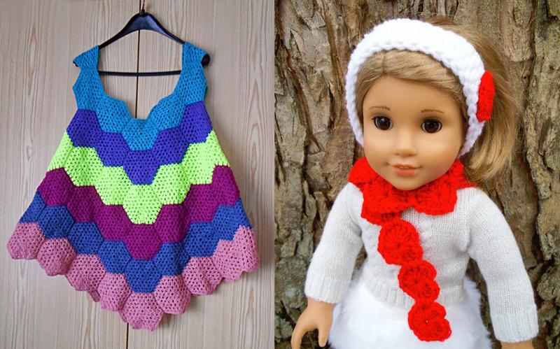 Crocheted hexigon dress,crocheted heart doll scarf