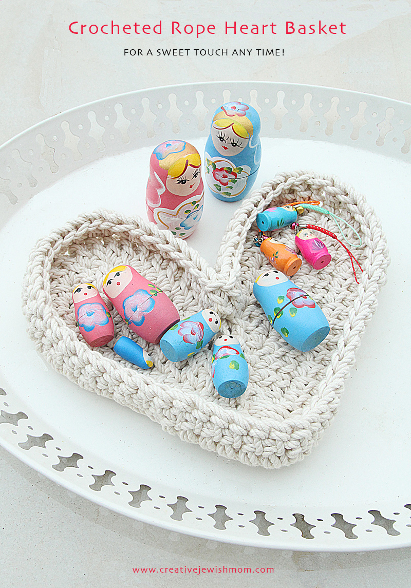 Crocheted Rope Heart Basket
