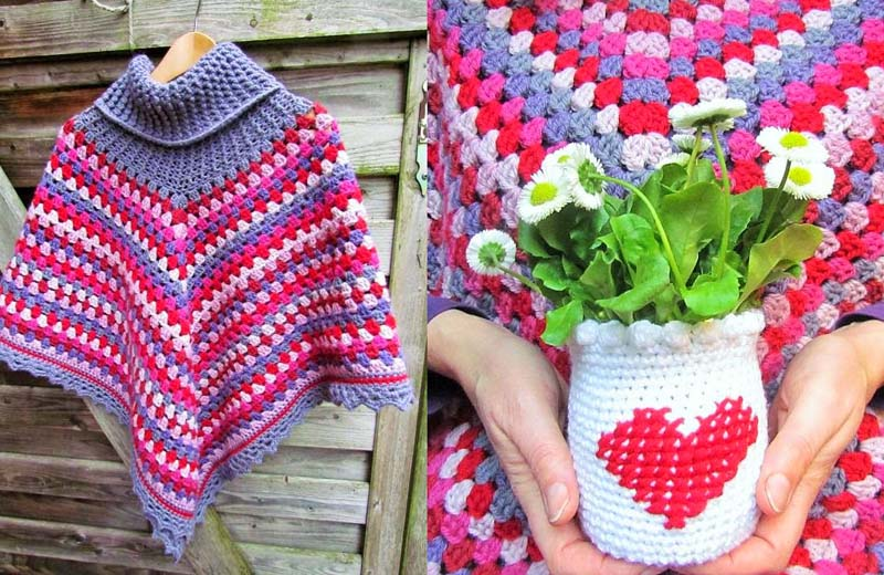 Crocheted granny poncho,cross stitch heart on crochet jar cover