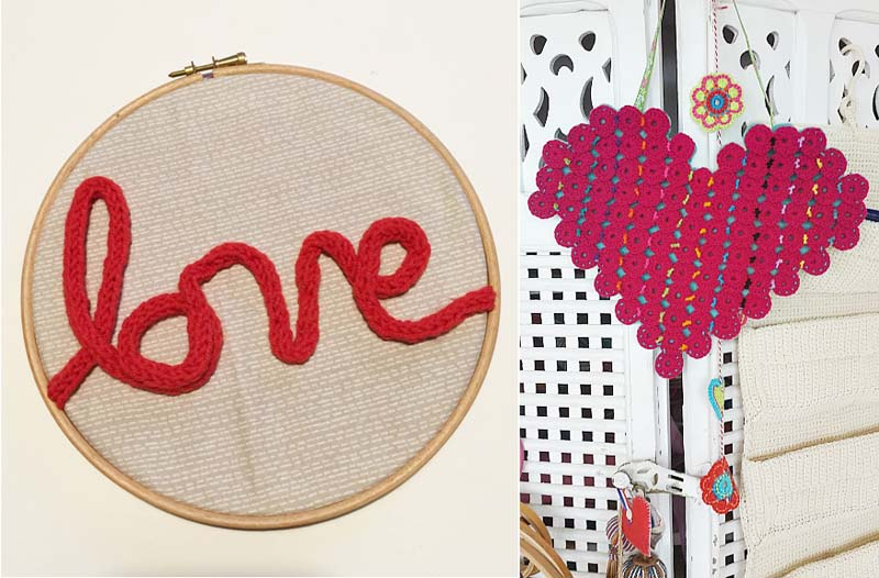 Spool knitting art,crocheted yo-yo heart wall hanging
