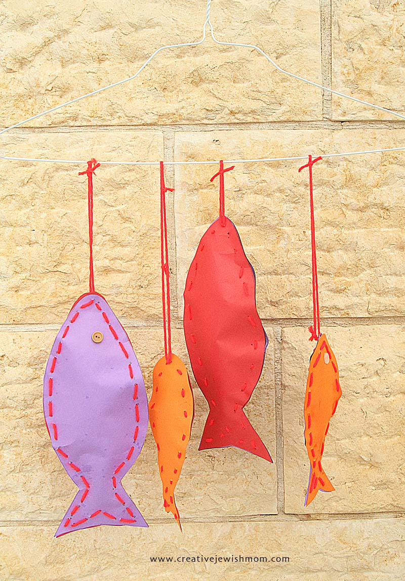 Paper Fish Mobile Craft For Shabbat