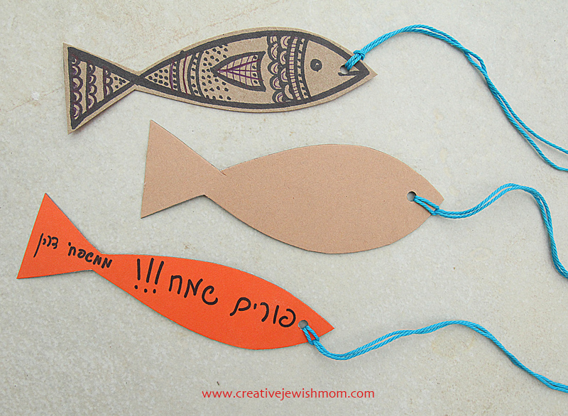 fish shaped gift tags with doodles
