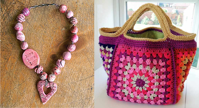 Granny square bag, polymer clay necklace