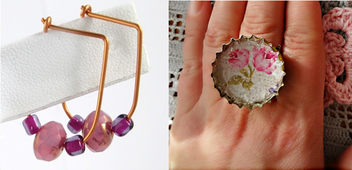 Bottle cap ring,bead earrings