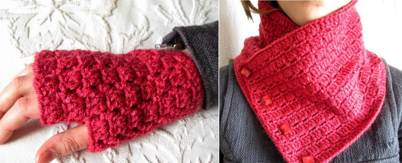 Crocheted hand warmers,cowl