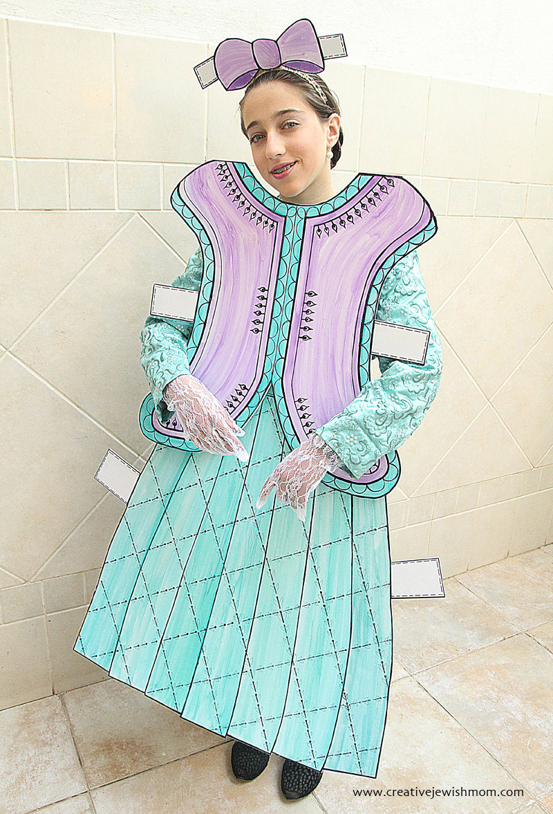 Paper Doll Costume For Purim Old Fashioned
