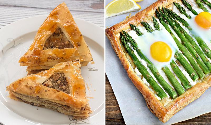 Asparagus Goat Cheese Tart, baklava hamentaschen