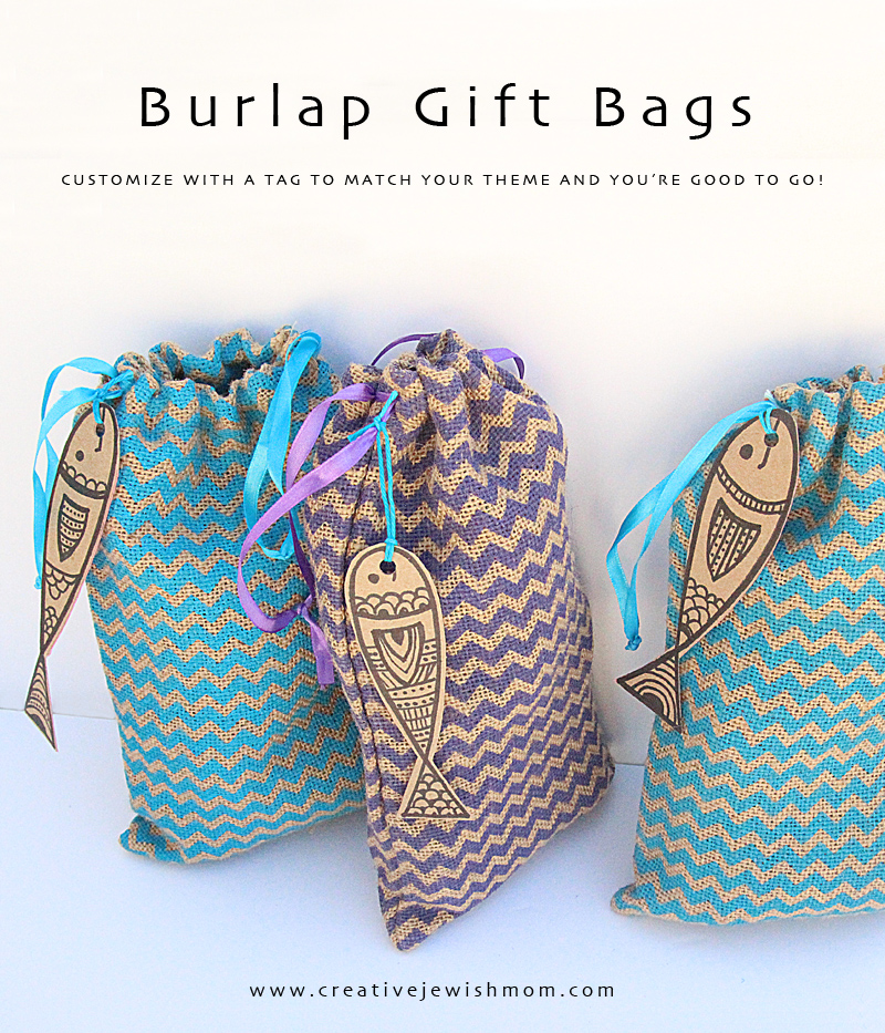 Burlap Drawstring Gift Bags For Purim