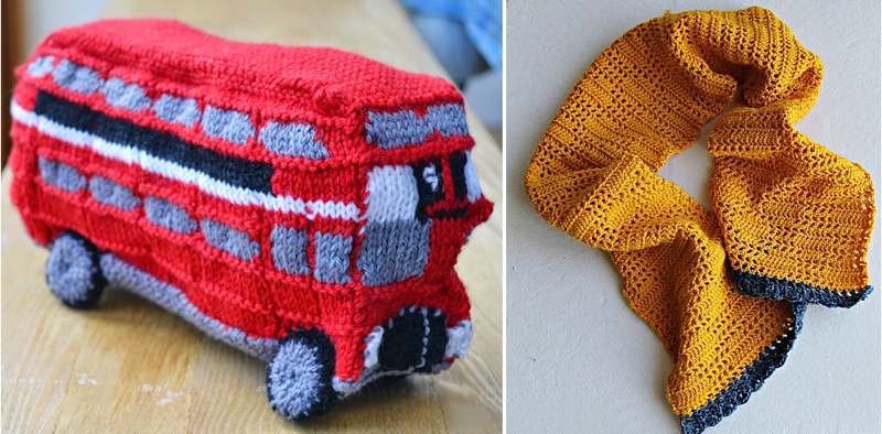 Knit double decker bus,crocheted scarf