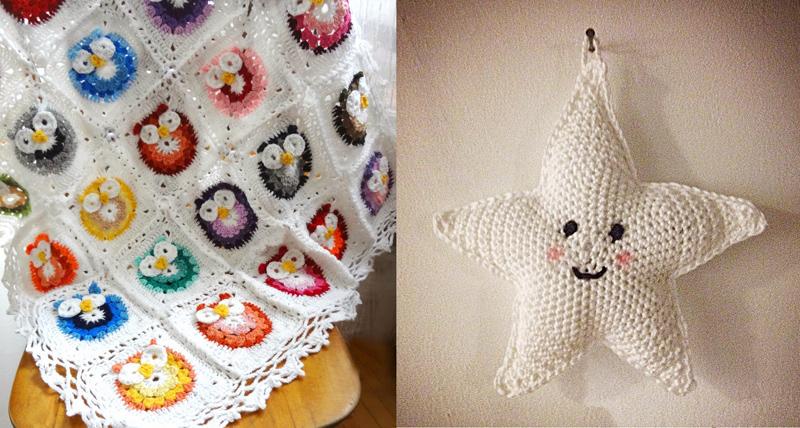 Crocheted owl baby blanket,crocheted stuffed star