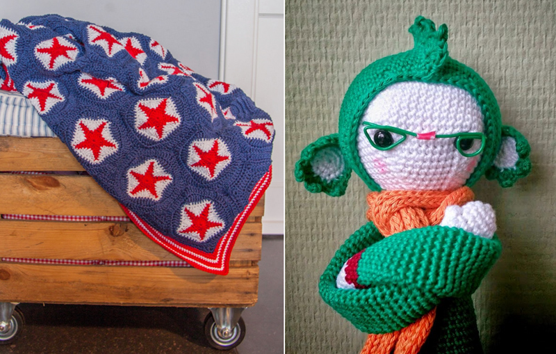 Crocheted star blanket,crocheted stuffie