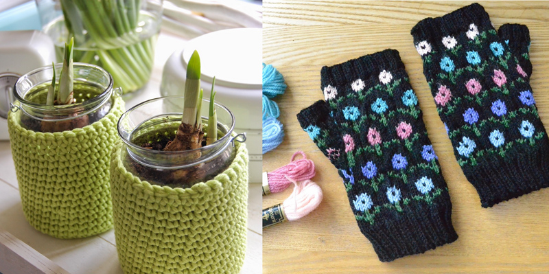 Crocheted jar cover,knit flowered handwarmers