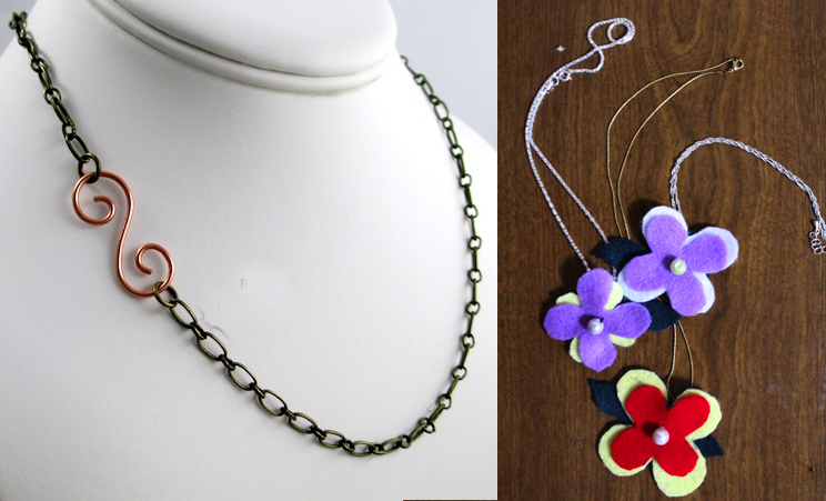 Spiral hook clasp,felt flower necklaces
