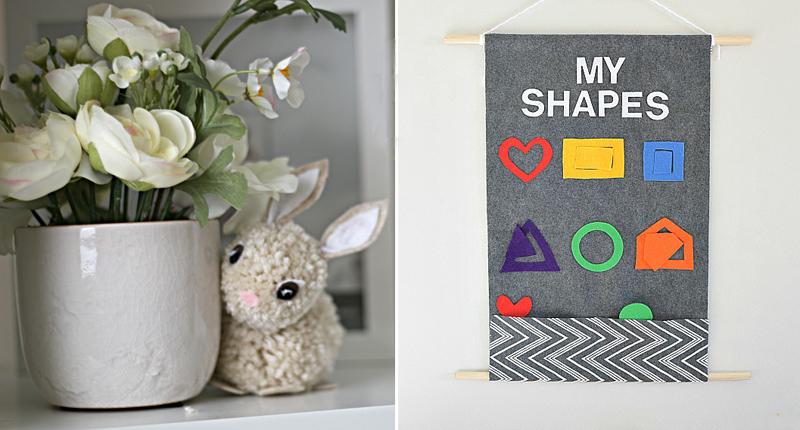 Pom pom bunny,DIY felt activity board