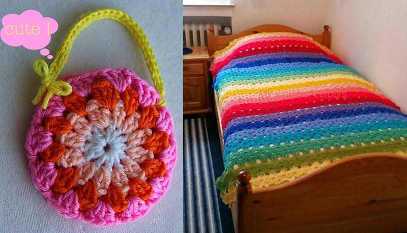 Rainbow stripes crocheted blanket,granny purse