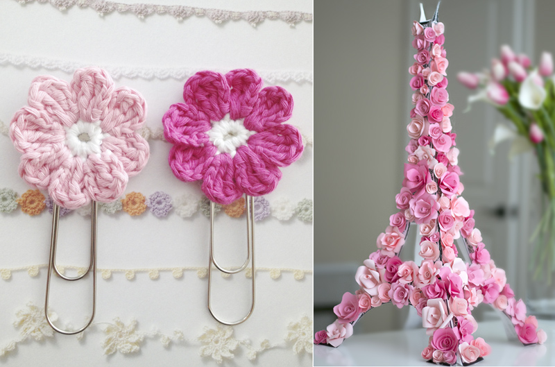 Rose covered eiffel tower,crocheted flower paperclips