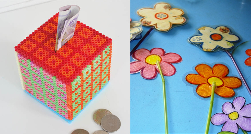 Hama bead bank craft,laminated flowers spring craft
