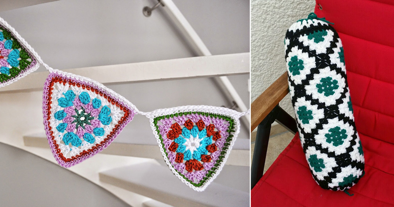 Crocheted triangular granny bunting,crocheted bolster pillow