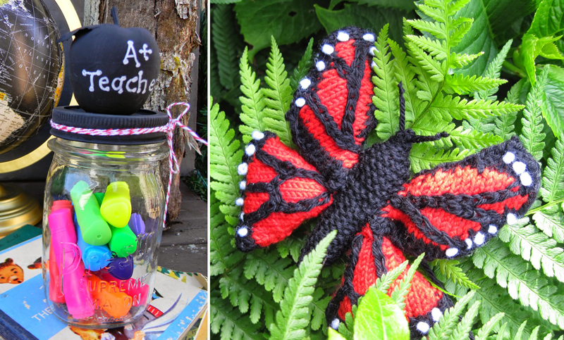 Knit monarch butterfly,teacher appreciation gift