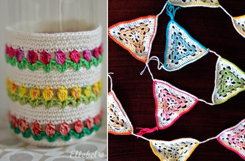 Crochet tulip stitch vase cover,triangular crocheted bunting