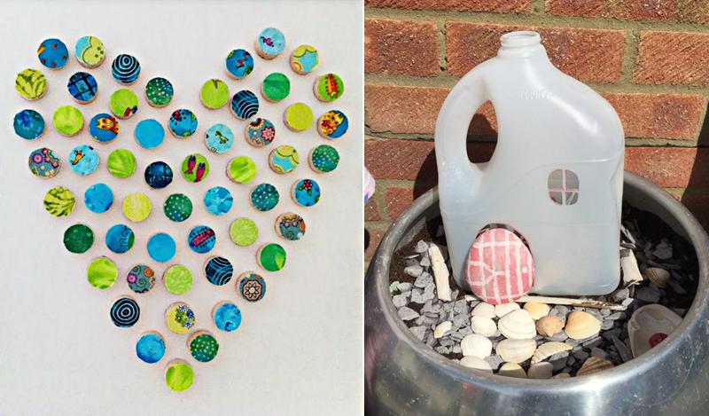 Wine cork heart,recycled bottle fairy house