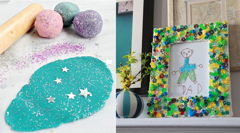 Glitter play dough,bead collage frame for Dad