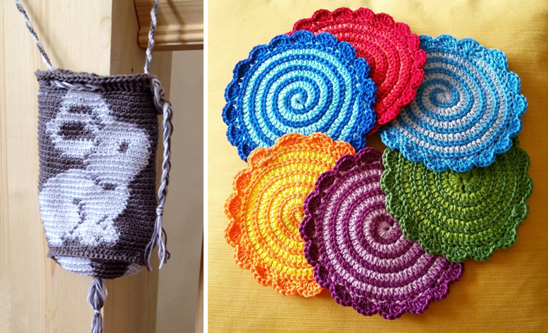 Crocheted tapestry rabbit pouch,crocheted spiral coasters
