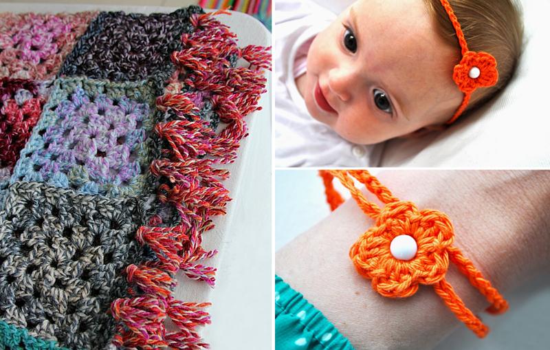 Crocheted patchwork blanket,baby flower crocheted headband